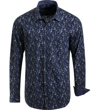 FORMEN donkerblauw hemd met fris motief