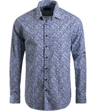 FORMEN blauw floraal hemd