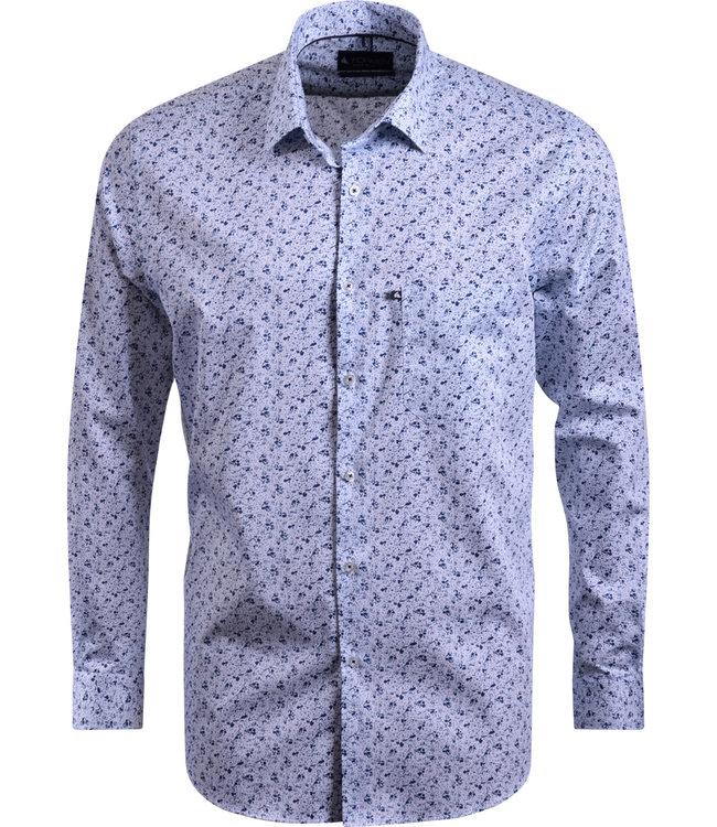 FORMEN blauw hemd met floraal motief