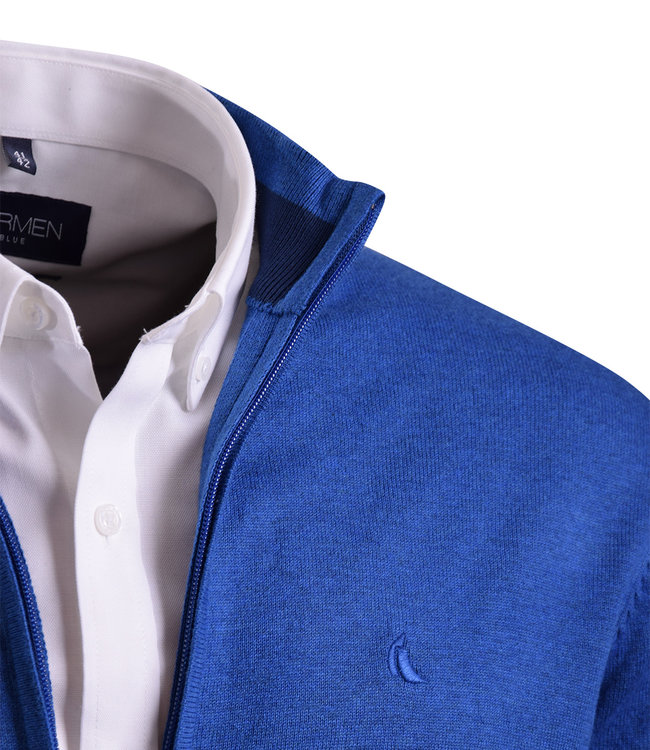 FORMEN comfortabel vest met rits, kobalt