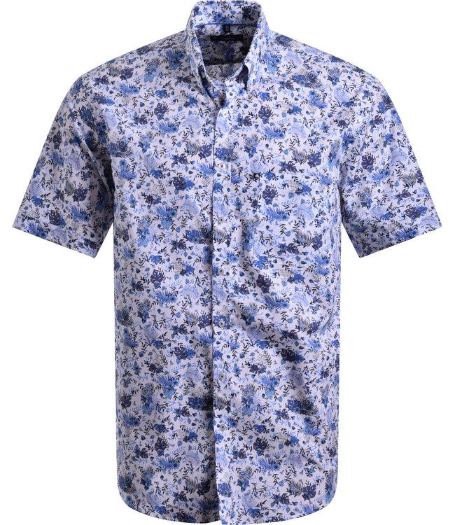 FORMEN wit hemd met diepblauwe print
