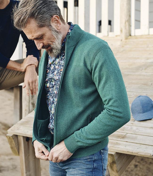FORMEN groene trui met rits en wafelpatroon