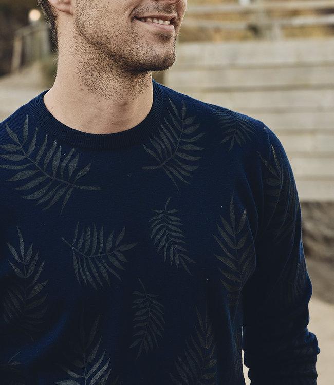 FORMEN donkerblauwe trui met palm print