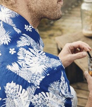 FORMEN blauw hemd met tropische print