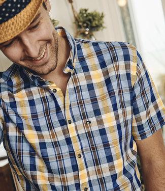 FORMEN geruit hemd in linnenmix