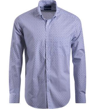 FORMEN wit hemd met knap motief - SLIM