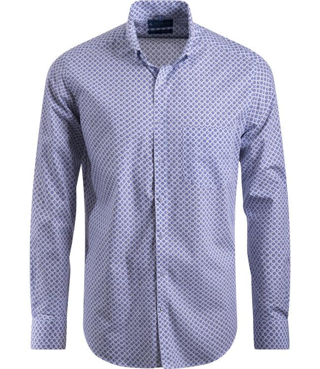 FORMEN wit hemd met speels motief - SLIM
