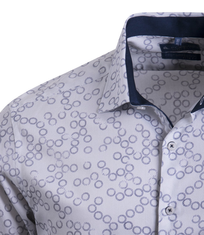 FORMEN hemd met apart cirkelmotief - SLIM