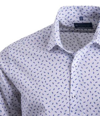 FORMEN wit hemd met veren print - SLIM