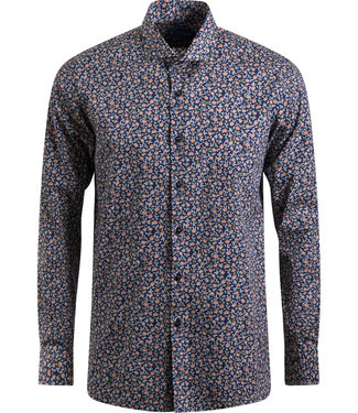 navy hemd met oranje bloemenprint - SLIM