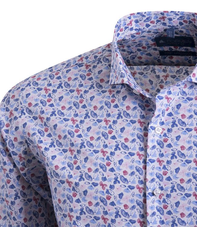 Expressief shirt met Italiaanse kraag - SLIM