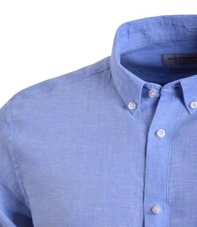 lichtblauw linnen hemd - SLIM