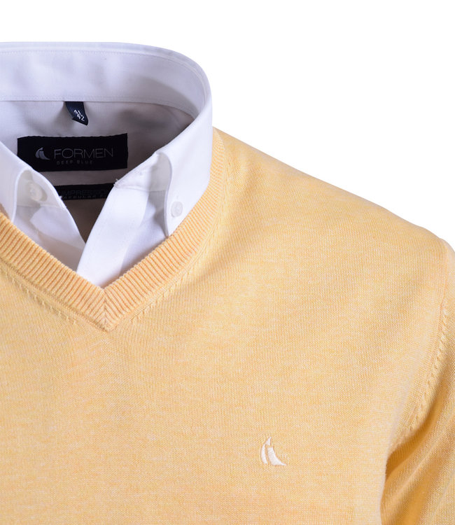 FORMEN v-hals trui in katoen, geel