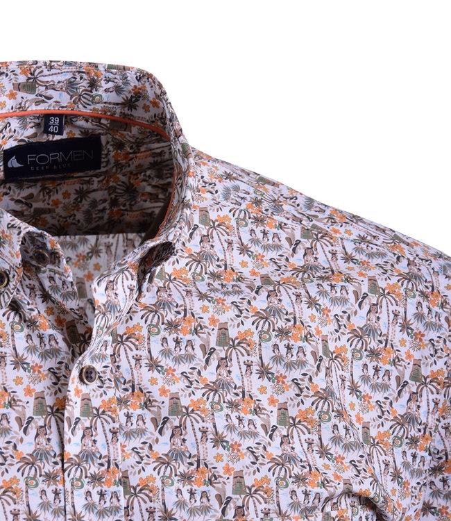 FORMEN safari print hemd met oranje accent