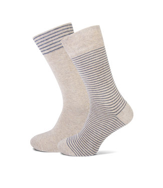 FORMEN beige gestreepte sokken duopack = 2 paar
