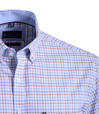 FORMEN geruit Oxford hemd met korte mouwen