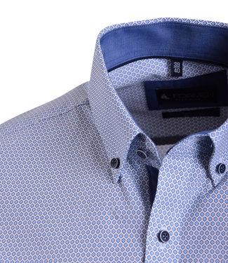 FORMEN wit zomerhemd met blauw motief