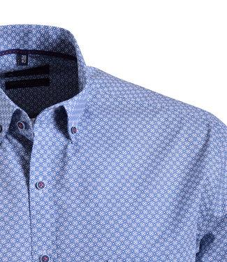 FORMEN jeansblauw hemd met wit motief