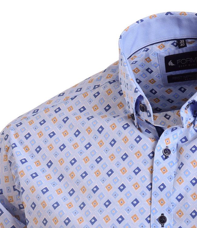 FORMEN lichtblauw hemd met aparte print