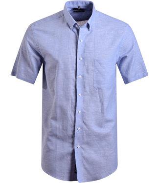 FORMEN lichtblauw hemd in luchtige linnen mix