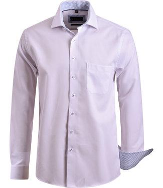 FORMEN wit hemd met Italiaanse kraag