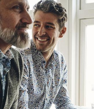 FORMEN stijlvol hemd met kleurig motief - SLIM