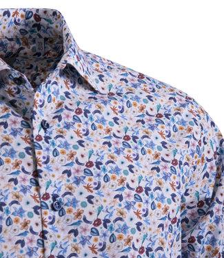 FORMEN stijlvol fleurig hemd met Italiaanse kraag
