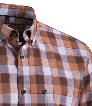FORMEN hemd met blokruiten in linnenmix