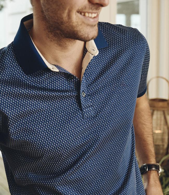FORMEN blauw poloshirt in soft cotton