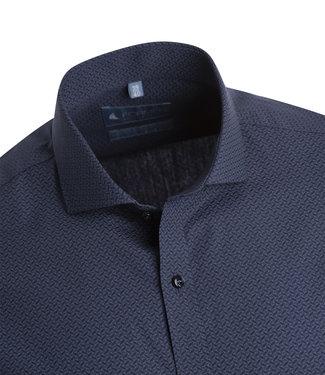 FORMEN Mooi hemd met diepblauwe en grijze geometrische print