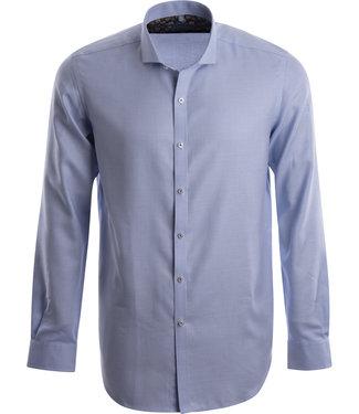 FORMEN stijlvol blauw hemd in mooie structuurstof