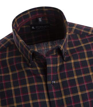 FORMEN Sportief donkerblauw geruit hemd met oker en bordeaux accenten