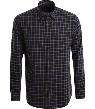 FORMEN Blauw geruit hemd met een oker accent