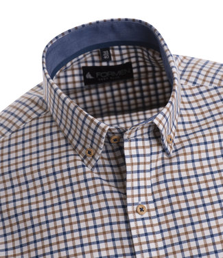 FORMEN Hemd met ruitjes in blauw en beige