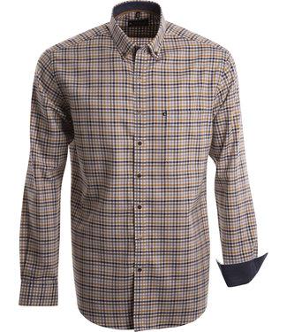 FORMEN hemd met sportieve ruit in oker, bruin en grijs