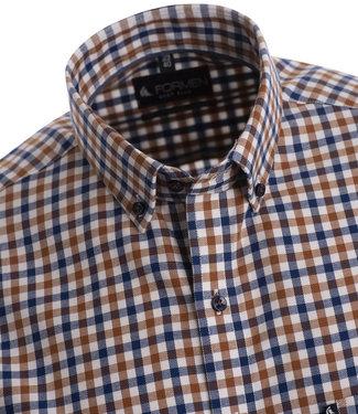 FORMEN sportief hemd met ruit in blauw en roest