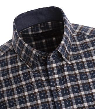FORMEN warm hemd met ruit in blauwe, bruine en witte tinten