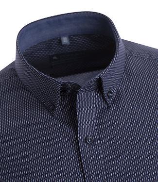 FORMEN stijlvol blauw hemd met fijne print