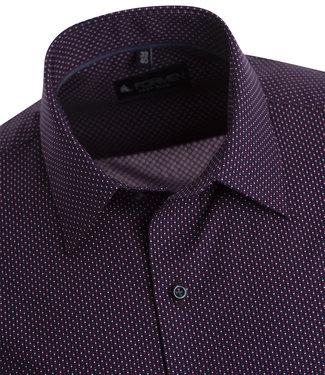 FORMEN donkerblauw hemd met kleine print met rood accent