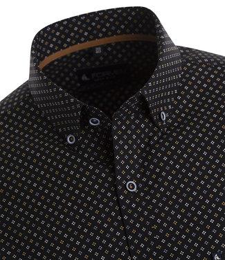 FORMEN zwart hemd met subtiele beige en witte print