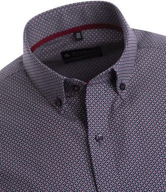 FORMEN hemd met donkerblauwe print met rood accent