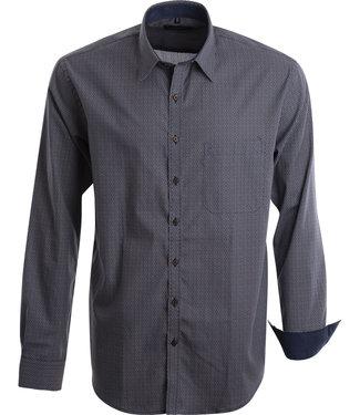 FORMEN hemd in marine met aparte bruine print en fris wit
