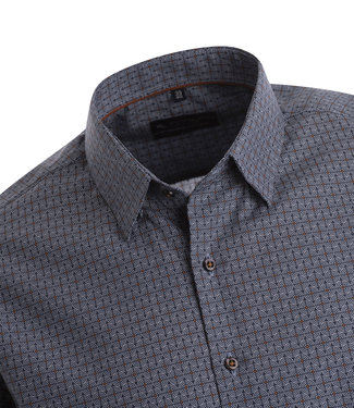 FORMEN overhemd in jeansblauw met cirkelvormige print in wit en oker