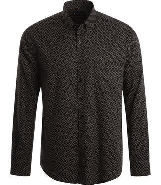 FORMEN feestelijk winters hemd in zwart met oker
