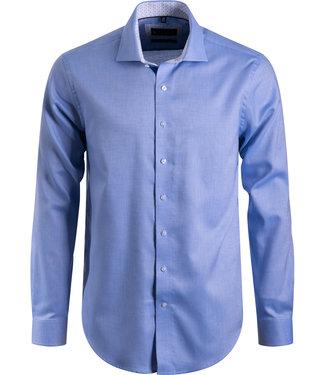 FORMEN blauw hemd met Italiaanse kraag