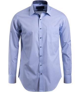 FORMEN hemd met blauw cirkelmotief - SLIM