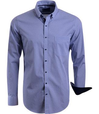FORMEN blauw hemd met knap motief - SLIM