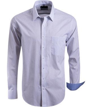 FORMEN stijlvol overhemd met blauw beige motief