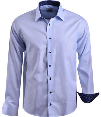 FORMEN lichtblauw gestreept slim fit hemd