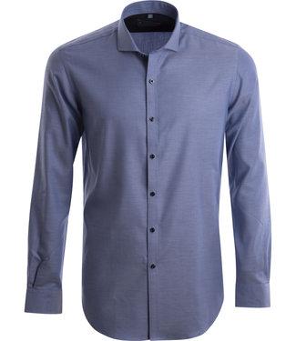 FORMEN gekleed blauw hemd met stijlvolle structuur